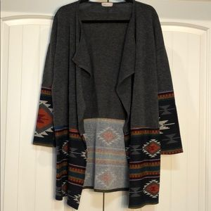 Santa Fe Print Open Front Cardigan Sweater Large